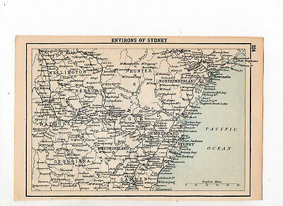 Antique Map Of Sydney Australia John Bartholomew C1920