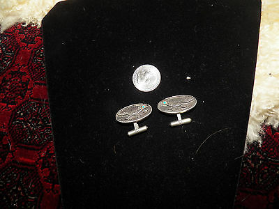 Nice vintage native american  Zuni sterling bird cufflinks