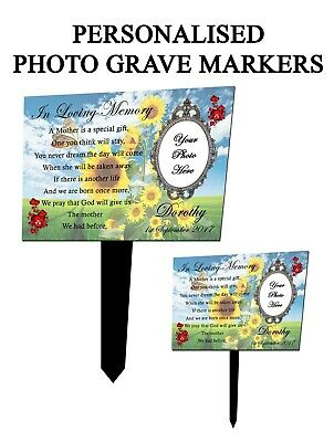Personalised Photo Memorial Stake Grave/Tree Marker Cremation Plaque