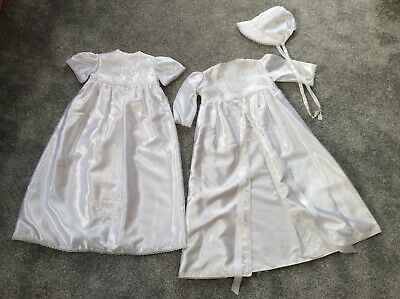 Hand made traditional white satin Christening gown jacket & bonnet 6-12 months