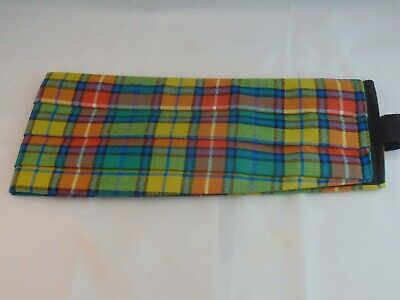 "Muted Buchanan Tartan Wool Adjustable Pleated Cummerbund 32-40"" Waist"