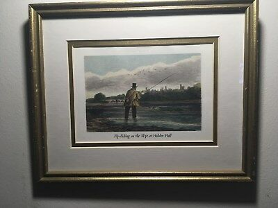 "Framed Antique Hand Colored Engraving, ""Fly-Fishing on the Wye at Haddon Hall""!!"