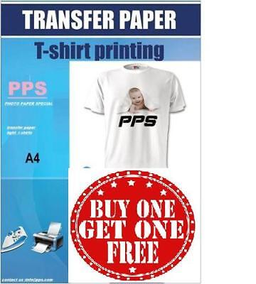 PPS T Shirt Transfer Paper Iron On A4 X 50 Buy 1 Get 1 FREE