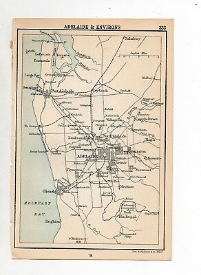 Antique Map Of Adelaide Environs John Bartholomew C1920