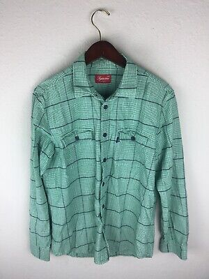 ce9f92c477ee EUC Mens Supreme Tartan L/S Flannel Workwear Shirt Green plaid Sz Large L