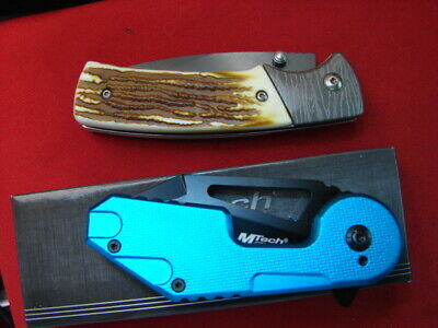 lot of 2 GOOD EDC TACTICAL STAGLON BLUE MTECH   KNIVES LOT GP 59