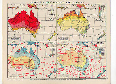 Antique Map Of Australia New zealand Climate George Philip & Sons C1930