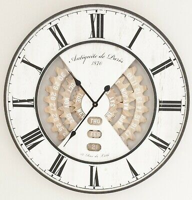 Stunning Distressed Vintage Wall Clock 80Cm With Visible Date Cogs
