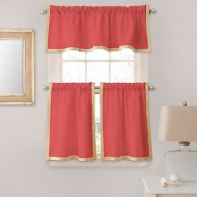 Seaview 36-Inch Window Curtain Kitchen Tier Pairs in Coral