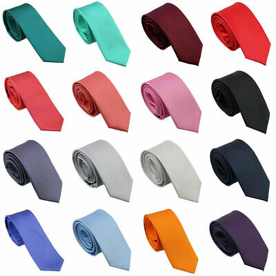 Mens SKINNY TIE Plain Wedding Slim Necktie Formal Casual Narrow Party Solid NEW