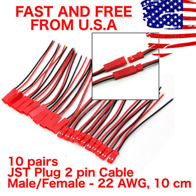 10 pairs JST Plug Connector 2 Pin Male Female Plug Connector Cable Wire 10CM US