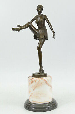 Vintage Style French Hot Painted Bronze Art Deco Dancer Lady Figure Sculpture