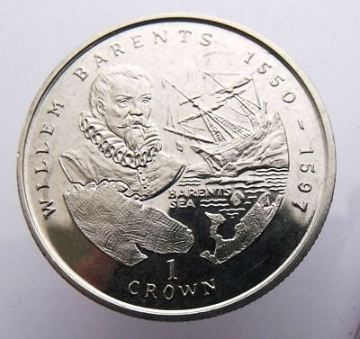 Isle Of Man 1 Crown 2000 Willem Barents Sailing Ship And Map Unc