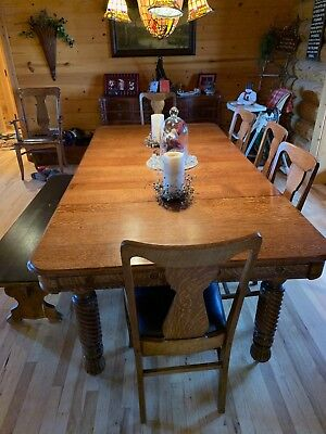 Pleasing Antique Tiger Oak Dining Table With Six Chairs 2 500 00 Short Links Chair Design For Home Short Linksinfo