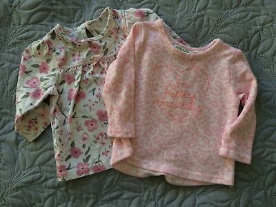 2 x pink & white tops - size - 0-6 months
