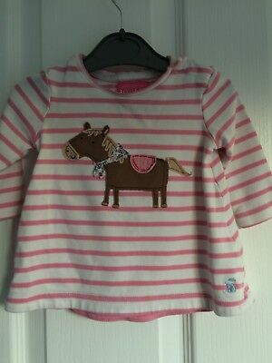 Joules pink & white stripe top - size - 0-3 months