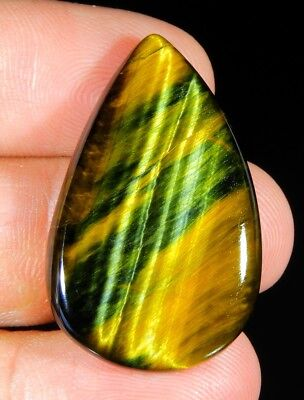 37 Ct Natural Blue Pietersite Fire Tiger's Eye Pear Cabochon Loose Gemstone B226