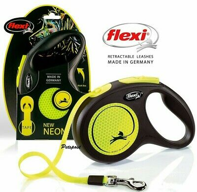FLEXI TAPE NEON Reflective Retractable Dog Leads Medium Large & Extra Large dogs