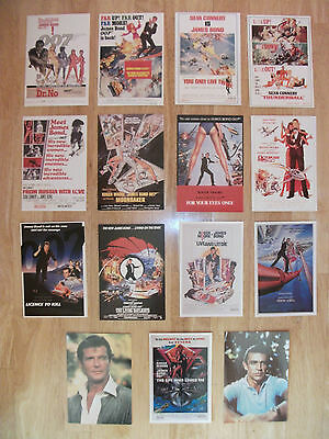 James Bond 007 x13 Film Movie Postcards x2 portrait Sean Connery Roger Moore