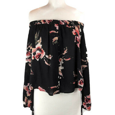 8f623b24ecff72 KENDALL AND KYLIE Black Floral Off the Shoulder Top NWT Size Med ...
