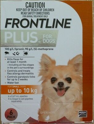 Frontline Plus 6 Pack For Dogs 0-22lbs 0-10KG Orange NIB