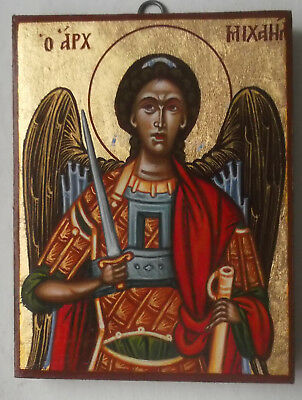 Hand painted orthodox byzantine  icon  of the Archangel Michael