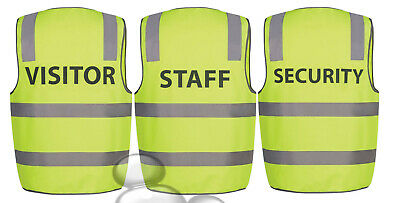 Hi Vis Vest Size Staff Security Visitor S M L XL 2XL 3XL 4XL 5XL 3M Tape Safety