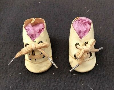 """Vintage 1940's Doll Shoes Lace Up almost 2"""""""