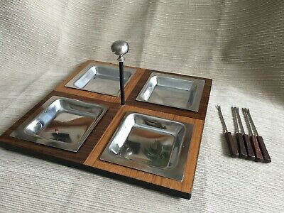 Vtg Mid-Century Modern Danish Style~ 4 Compartment~ Appetizer Serving Tray
