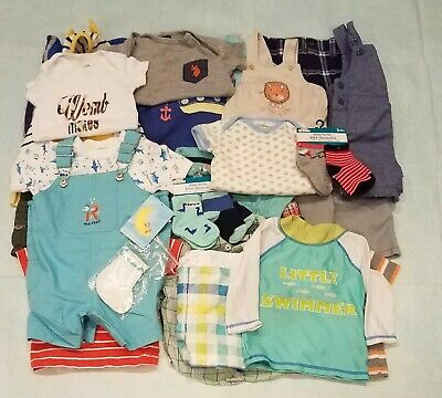 b7caf4844b4 BABY BOYS LOT Of 30 Clothes outfits+ Sz 6-9 6-12 M.spring summer ...