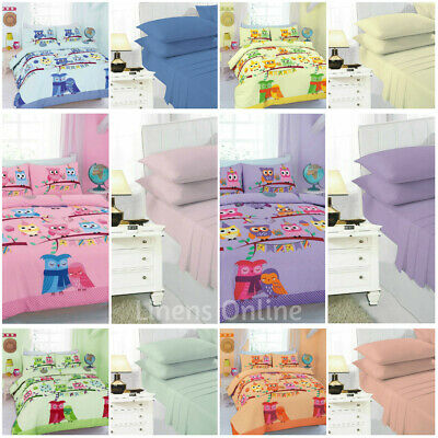 Cute Owls Single Duvet Quilt Cover Sets Kids Bedding Matching Fitted Sheets