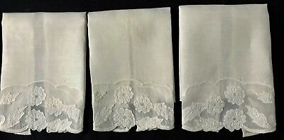 """Early Vintage Three Adorable Children Guest Towels Applique Work, 11 1/2"""" x 8 3/"""