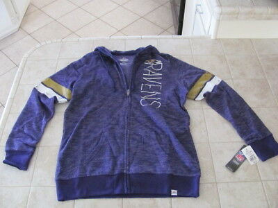 New  65 Nfl Womens Majestic Baltimore Ravens Full Zip Hoodie ~ Size Large 383cd974e
