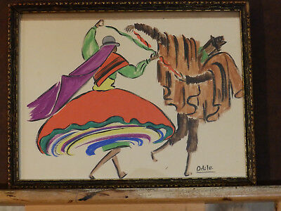 Mid Century Watercolor Painting 'THE DANCERS' _ Odile, nice ornate vintage frame