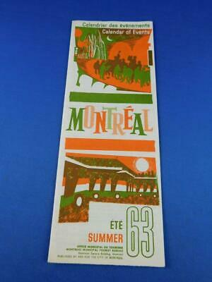Montreal Calendar Of Events Summer 1963 Festivals Sports Theater Sightseeing