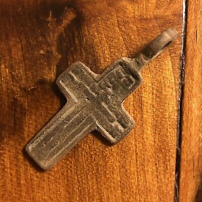 1600s Copper Cross Pendant Catholic Christian Jesus Medieval Style Writing Old F