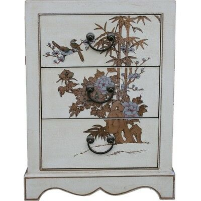 Chinese Bedside Table - Hand Painted White 3 Drawers New (BC-S3W)