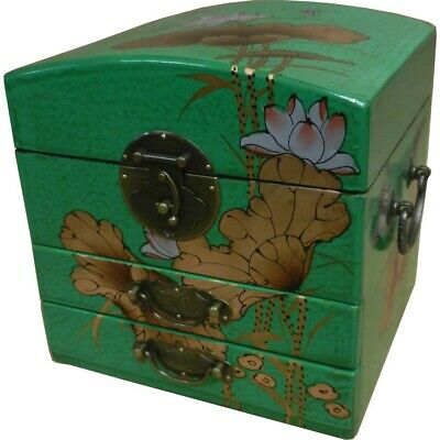 Mirrored Jewellery Box -  Green Embossed Butterfly Painted Box New (MB-M2G)
