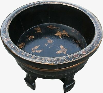 Chinese Antique Black Painted Butterflies Round Washing Basin (22-100)