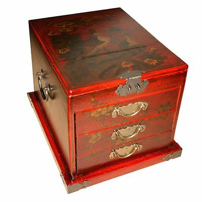 Chinese Jewellery Box -  Large Red Painted with Mirror (MB-L3R-PK)