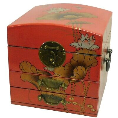 Mirrored Jewellery Box -  Red Dragonfly Gilted Painted Box New (MB-M2R-DF)