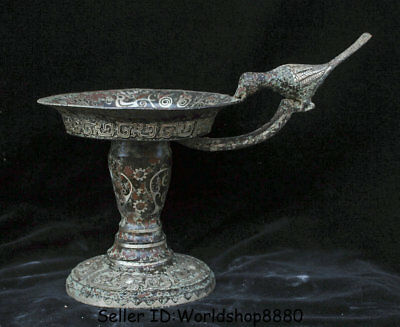"""12"""" Rare Antique Old China Bronze Silver Ware Dynasty Birds Handle Candle Holder"""