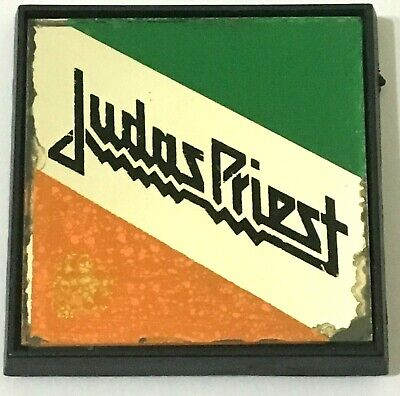 JUDAS PRIEST - Old OG Vtg 1970`s Square Mirror Pin Badge NWOBHM(NOT shirt patch)