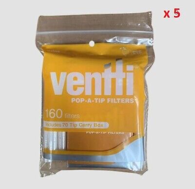 800 x Yellow Slim Ventti POP A TIP Filters Tobacco Cigarette Rolling Papers Roll