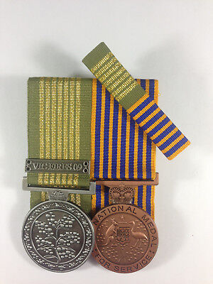 Set of 2 Replica Court Mounted Long Service National Emergency Medal Vic Fires