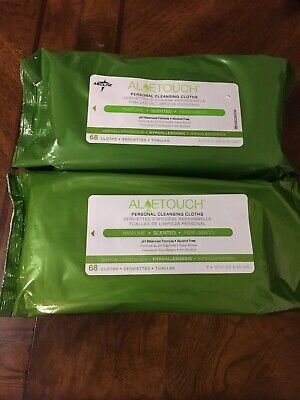 2x 68 Packs Aloetouch MEDLINE Personal Cleansing Cloths 136 FIT RIGHT Wipes
