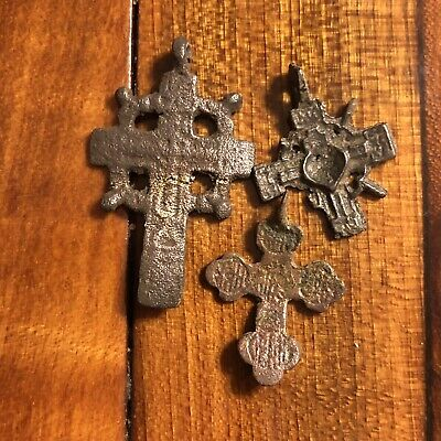 3 Medieval Cross Pendants Golgotha Russia Christian Artifact Calvary Jesus Old