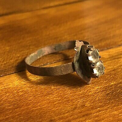 RARE Medieval European Authentic Old Ring Diamond? Round Stone Artifact Antique