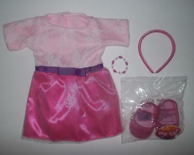 """Complete Dress and shoes outfit fits 18""""American Girl doll  Pink"""