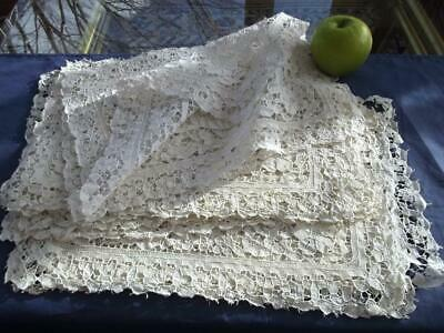 "Set 11 Antique Italian Hand Point de Venise Needle Lace Placemats 11x16"" Floral"